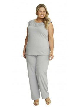 Ladies Plus Size Wide Leg Pant with Elastic Waist in Grey