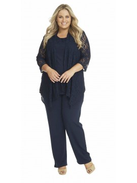 Robin Plus Size Lace and Jersey 3 Piece Pant Set in Navy