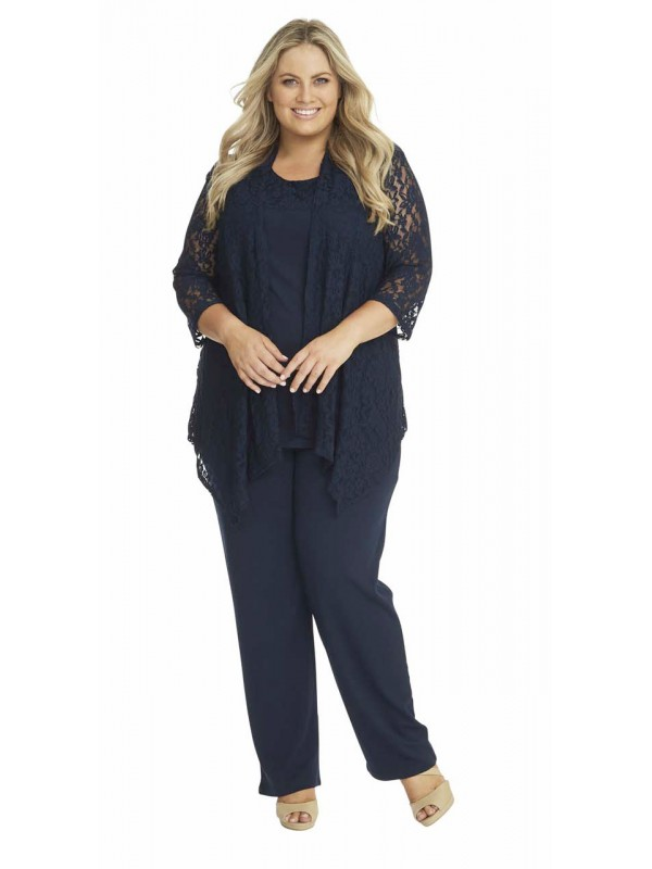 robin plus size lace and jersey 3 piece pant set. Black Bedroom Furniture Sets. Home Design Ideas