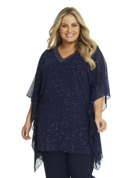 Chiffon Long Top Kaftan in Navy with Gold Stud