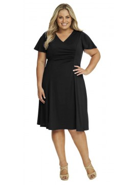 Robin Plus Size Jersey Dress with Sleeve in Black
