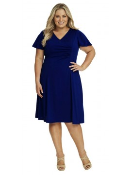 Robin Plus Size Jersey Dress with Sleeve in Navy