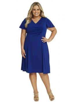 Robin Plus Size Jersey Dress with Sleeve in Royal Blue