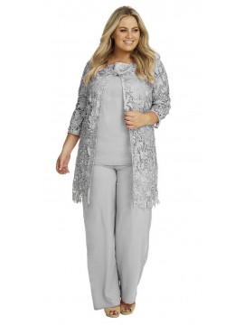 Ladies Plus Size Special Occasion Lace and Chiffon 3 Piece Pant Set in Grey