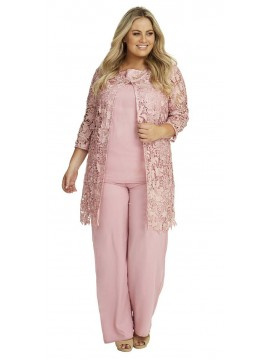 Ladies Plus Size Special Occasion Lace and Chiffon 3 Piece Pant Set in Dusty Pink