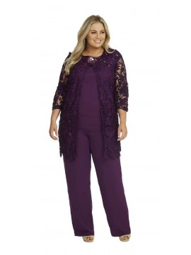 Ladies Plus Size Special Occasion Lace and Chiffon 3 Piece Pant Set in Purple
