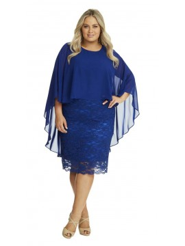 Ladies Plus Size Special Occasion Dress and Chiffon Overlay in Royal Blue