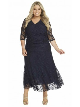 Ladies Lace Skirt and Top Set in Navy