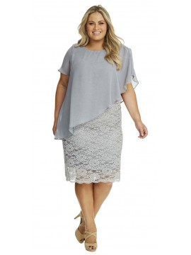 Ladies Plus Size Special Occasion Dress and Chiffon Overlay in Charcoal