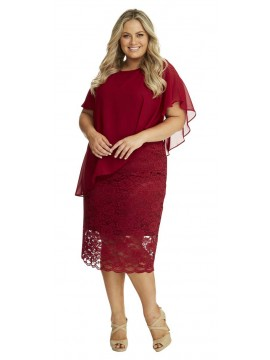 Ladies Plus Size Special Occasion Dress and Chiffon Overlay in Red