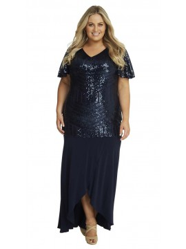 Navy Sequin Stripe Evening Gown
