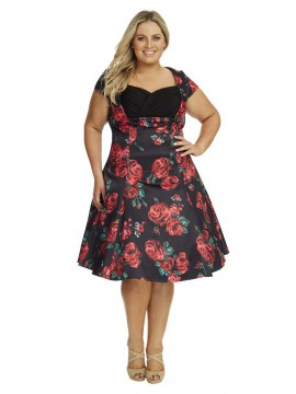 Vintage Sybil Dress in Red Rose