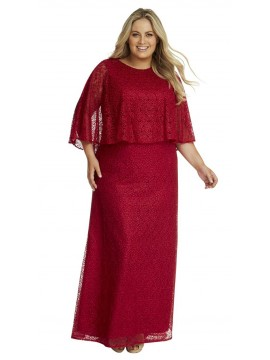 Crystal Studded Caped Evening Gown in Red