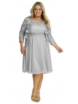 Special Occasion Lace and Chiffon Dress with Jacket in Grey
