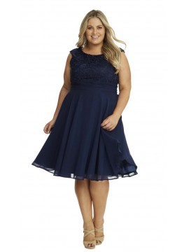 Special Occasion Lace and Chiffon Dress in Navy