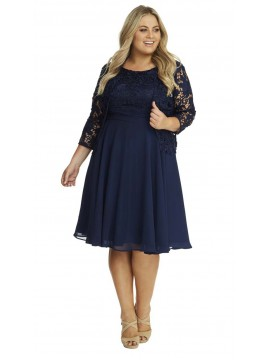 Special Occasion Lace and Chiffon Dress with Jacket in Navy