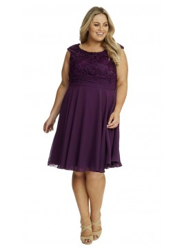 Special Occasion Lace and Chiffon Dress in Purple