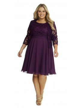 Special Occasion Lace and Chiffon Dress with Jacket in Purple