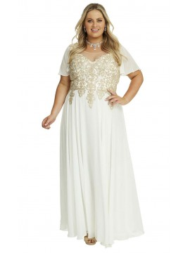 Full Length Chiffon and Crystal Stud Lace Bodice Evening Gown in Ivory