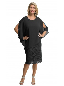 Ladies Plus Size Special Occasion Dress and Chiffon Poncho in Royal Blue