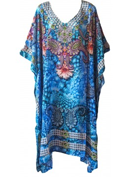 Long Kaftan in Blue Mosaic (140cm long)