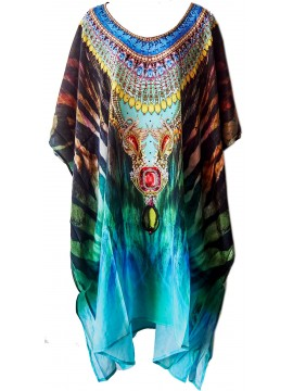 Long Kaftan in Blue Tiger (140cm long)