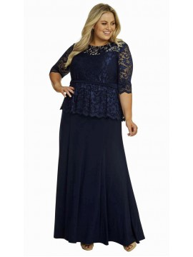 All Star Special Peplum Lace and Jersey Gown in Navy