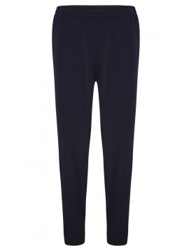 Plus Size Jersey Straight Leg Pant with Elastic Waist in Navy