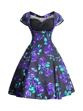 Vintage Sybil Dress in Purple Rose