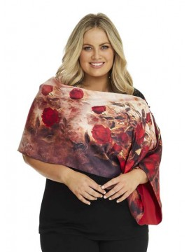 Red Floral Cape/ Shawls