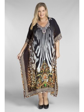 Open Sided Long Kaftan in Zebra (140cm long)
