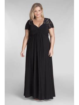 Full Length Chiffon and Lace Evening Dress in Black