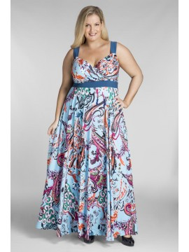 Bella Plus Size Maxi Dress in Blue Print