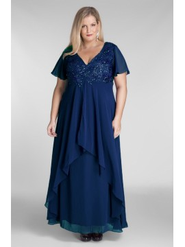 Full Length Chiffon Evening Dress with Beading in Navy