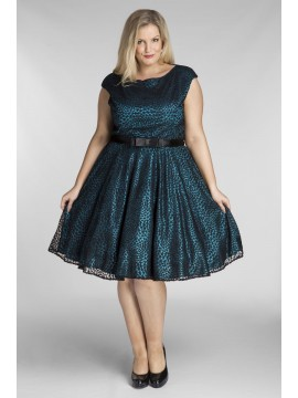 All Star Special Jackie Vintage Off the Shoulder Lace Dress in Teal