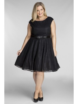 All Star Special Jackie Vintage Off the Shoulder Lace Dress in Black