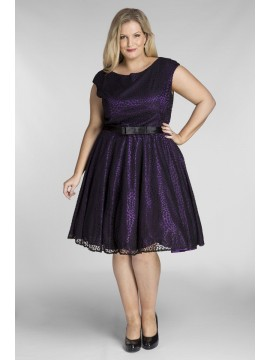 All Star Special Jackie Vintage Off the Shoulder Lace Dress in Purple