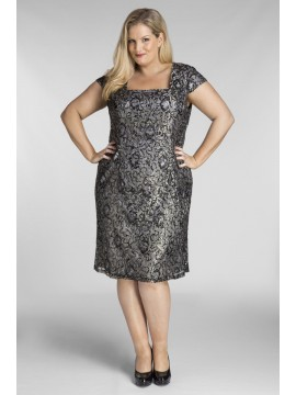 Special Occasion Sequin Lace Dress in Charcoal