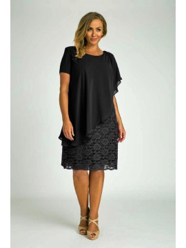 Ladies Plus Size Special Occasion Dress and Chiffon Overlay in Black