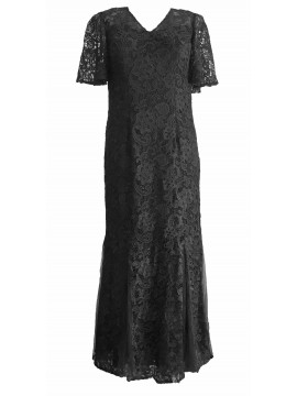 Monique Lace Flutter Sleeve Evening Gown in Black