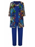 Ladies Plus Size Special Occasion Chiffon 3 Piece Pant Set in Blue