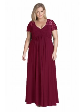Full Length Chiffon and Lace Evening Dress in Ruby Red