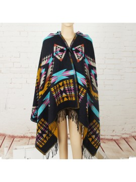Aztec Hooded Wrap in Navy