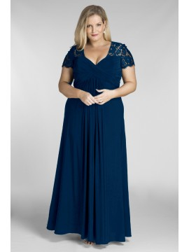 Full Length Chiffon and Lace Evening Dress in Navy