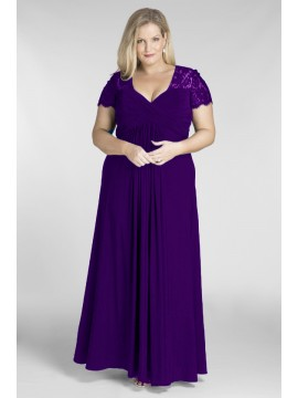 Full Length Chiffon and Lace Evening Dress in Purple