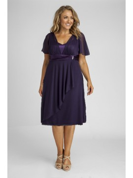 Knee Length Mesh Evening Dress in Violet