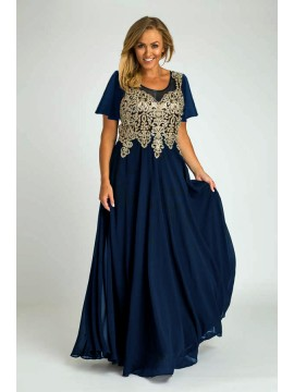Full Length Chiffon with Gold Lace Bodice Evening Dress in Navy