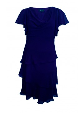 Ladies Special Occasion Chiffon Teired Dress in Navy