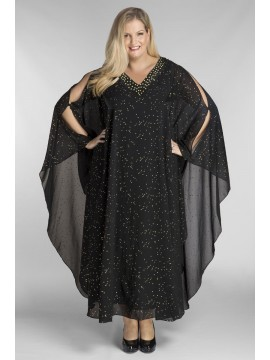 Evelyn Chiffon Overlay Dress in Black with Gold Stud