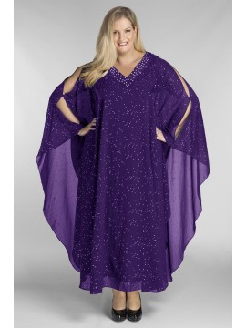 Evelyn Chiffon Overlay Dress in Purple with Gold Stud